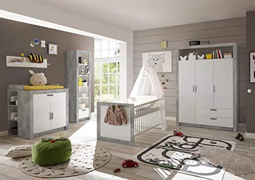 lifestyle4living Babyzimmer Komplett-Set in weiß und Beton-Dekor, Babyzimmer Komplettset besteht aus 4 Teilen, Babyzimmer Set für Jungen und Mädchen