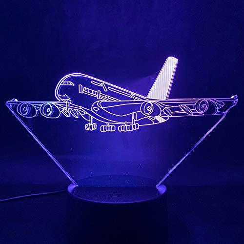 Creative Aircraft 3D Lámpara de mesa LED Luz de noche Decoración de acrílico Lámpara de lava Regalo USB