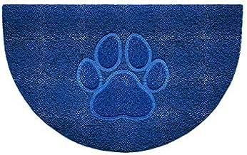 Nicoman Embossed Halfmoon Half Circle Door Mat Dirt-Trapper Jet-Washable Doormat 70x44cm (Blue, PAW Shape) - Use Indoor or...