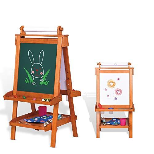 Lihgfw Kids Schildersezel Dubbelzijdig Whiteboard & school bord Permanent ezel met Bonus Magnetics, verstelbare Permanent ezel met papierrolhouder for kinderen peuters Boys and Girls, 2 jaar of ouder
