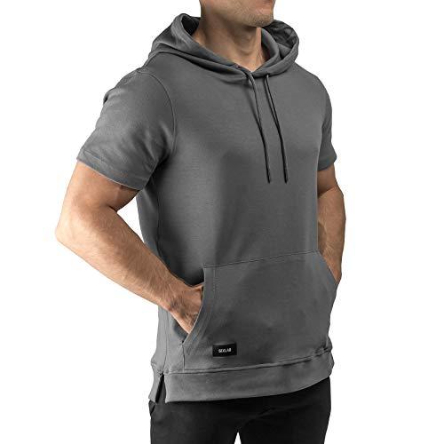 Sixlab Short Sleeve Kurzarm Hoodie Herren Kurzärmeliger Muscle Fitness Kapuzenpullover Gym (L, Dunkelgrau)