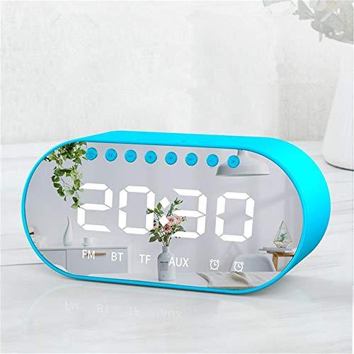 Wuxingqing Digitale wekker, draadloze luidspreker, dubbele drivers, dubbele wekker, led-display, FM-radio-TF-kaart, zware bas stereo luidspreker met microfoon voor kinderen, senioren en volwassenen