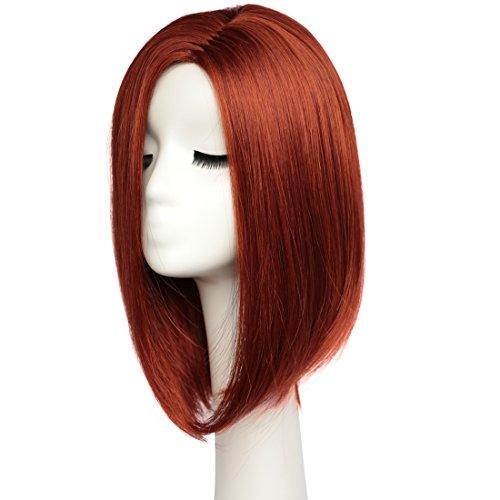 BESTUNG Perruques de cheveux raides pour Bob pour les femmes, longueur d'épaule, pleine perruque naturelle, couleur rouge miel, regardant avec le chapeau de perruque (W100507)