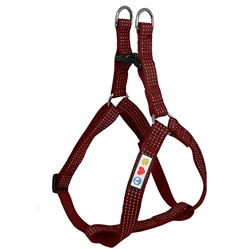 Pawtitas Reflective Step in Dog Harness or Reflective Vest Harness, Comfort Control, Training Walking of Your Puppy/Dog Large Dog Harness L Marsala Brown Dog Harness
