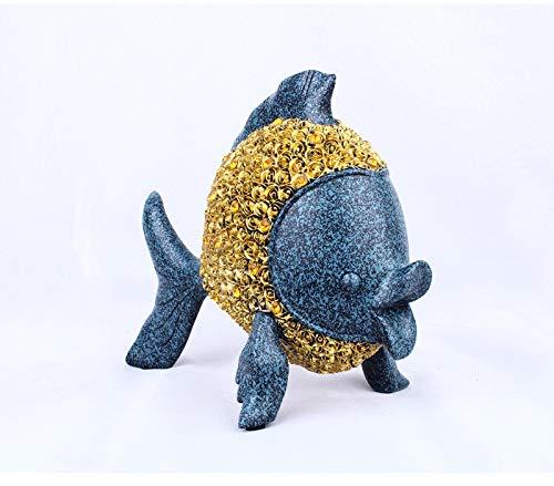 YL-adorn art beeld sculptuur figuur goudvis miniatuur figuur schattige blauwe dier hars met diamond vis sieraad artwork voor de woonkamer tafel accessoires kerst cadeau kantoor bar ornamenten