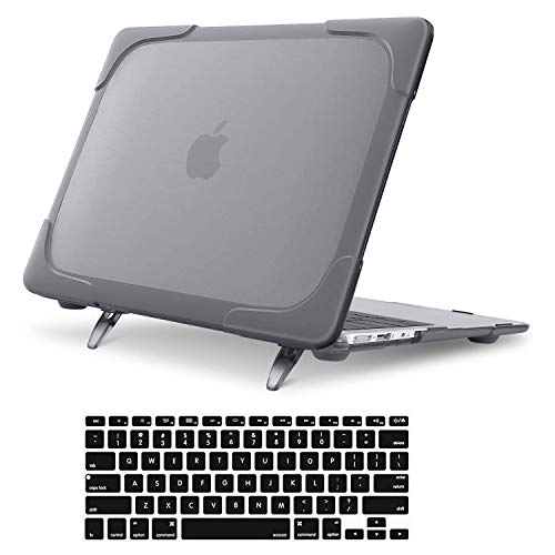 MOSISO MacBook Air 13 inch Case (Models: A1369 & A1466, Older Version 2010-2017 Release), Heavy Duty Plastic Hard Shell with Fold Kickstand&Keyboard Cover Only Compatible with MacBook Air 13 inch,Grey