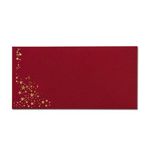 100x Weihnachts-Briefumschläge - DIN Lang - mit Gold-Metallic geprägtem Sternenregen - Farbe: dunkelrot, Nassklebung, 120 g/m² - 110 x 220 mm - Marke: Gustav NEUSER®
