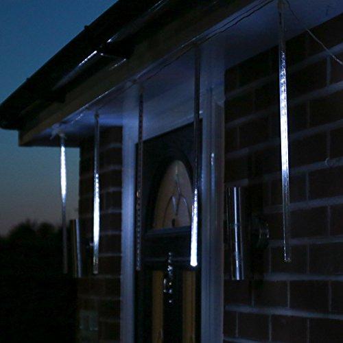 Guirlande Lumineuse 5 Tubes Pluie/Chute de Neige 150 LED Blanches Décoration Noël d'Extérieur Waterproof 4 Mètres