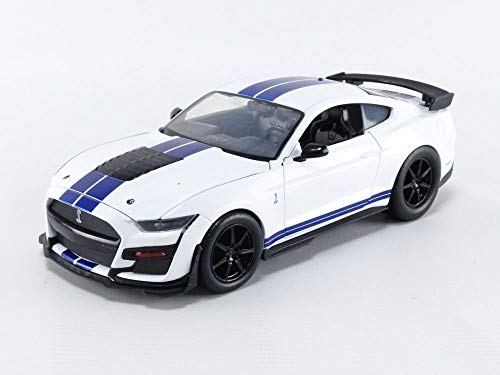 Jada Toys Bigtime Muscle 1:24 2020 Ford Mustang Shelby GT500 Die-cast Car Blue White Stripes, Toys for Kids and Adults