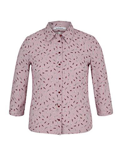 STEILMANN by Adler Mode Damen Bluse mit Streifen und Federn Beere/weiß/schwarz 38