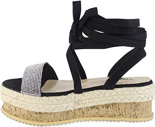 BeMeesh Alpargata para Mujer Diamante Zapatos Planos con Plataforma y Cuerdas Sandalias de Verano