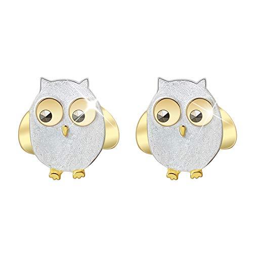 Regalo para ti Springlight S925 Pendientes de plata de ley para mujer Búhos lindos con pendientes de diamantes de imitación negros Joyas de botón Joyas únicas hechas a mano para mujeres y niñas