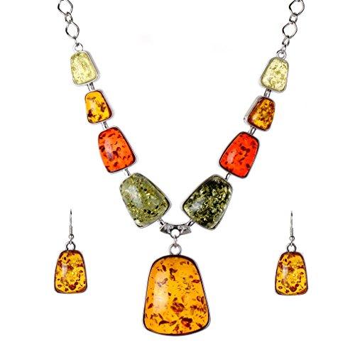 YAZILIND Conjuntos de Collar de Cuello de los Pendientes del Gancho de la joyería de Plata Plateado Ámbar Bib de Las Mujeres