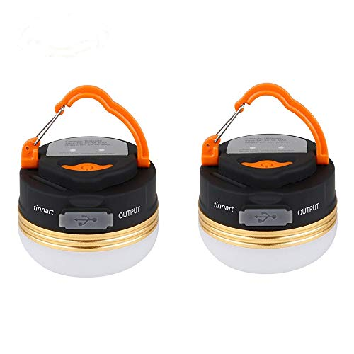 Finnart LEDランタン 充電式 懐中電灯 携帯型 テントライト 3つ調光モード 超軽量 携帯便利 防水キャンプ用品 登山 夜釣り 防災対策 ランタン (2個セット)