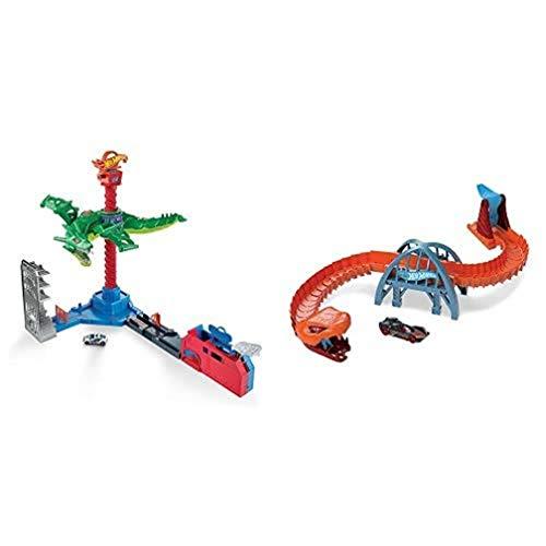 Hot Wheels GJL13 City Drachen Luftangriff+GJK88 - City Viper-Brücken-Angriff Spielset zum Herumschieben und Geschichtenerzählen+01806 5er Pack 1:64 Die-Cast Fahrzeuge Geschenkset, je 5 Spielzeugautos