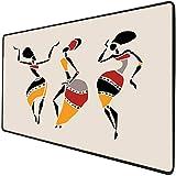 Mouse Pad Gaming Funcional Mujer africana Alfombrilla de ratón gruesa impermeable para escritorio Los bailarines africanos silueta conjunto étnico nativos vestidos fiesta carnaval tradición,multicolor