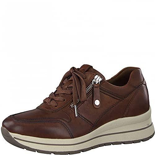 Tamaris Mujer Zapatillas, señora Bajo,Comfort Lining,Zapatos Informales,Cuña de tacón,Zapatos Bajos,con Cordones,Chestnut Uni,40 EU / 6.5 UK