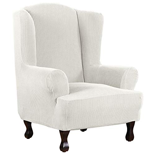 1 Piece Super Stretch Stylish Furniture Cover/Wingback Chair Cover Slipcover Spandex Jacquard Checked Pattern, Super Soft Slipcover Machine Washable/Skid Resistance (Wing Chair, Ivory White)