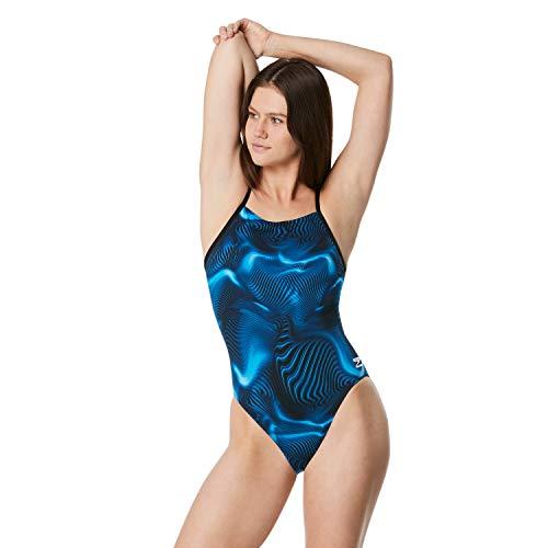 Speedo - Costume Intero da Donna, Modello The Fast Way Cross Back, Donna, Costume da Bagno, WTEAMENDCROSSBPRINT1PC, Fusion Speedo Blu, 32