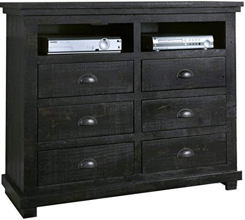 Progressive Furniture Willow Media Chest, Distressed Black