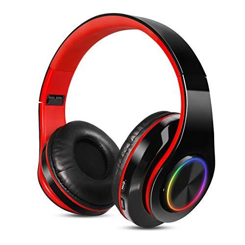 Sendowtek Auriculares Inalambricos Diadema con Microfono Cascos Bluetooth Inalámbrico Auriculares Cancelacion de Ruido Alta Fidelidad Estéreo para iPhone Android iPad PC(Negro Rojo)