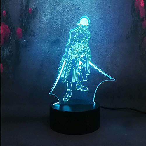 xcdfr 3D Night Light Baby Light Table Lamp Cartoon Anime Figure Night Lamp One Piece Roronoa Zoro Bedroom Bedside Crack Table Lamp Kid with Remote Controller