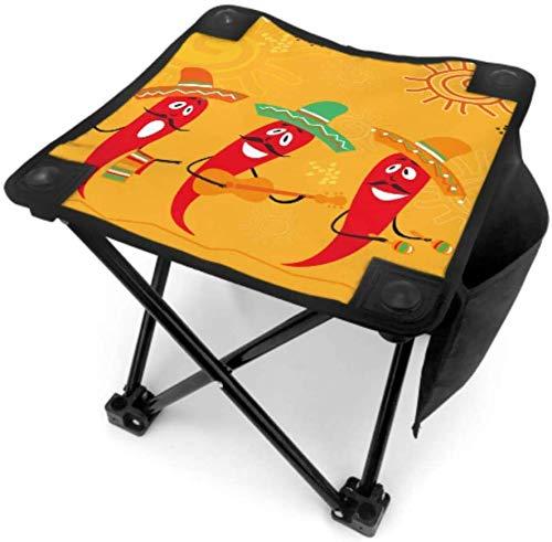 Kay Sam Pequeño Taburete Plegable para Acampar Taburete Silla de Campo Ilustración de Cocina Mexicana Sillas de Chiles para Pescar Viajar con Bolsa de Transporte