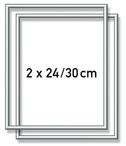 Schipper 605220771 - Malen nach Zahlen - 2x Alurahmen 24 x 30 cm, Silber matt ohne Glas für Ihr Kunstwerk, einfache Selbstmontage