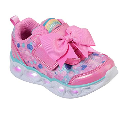 Skechers Kids Girls' Heart Lights Sneaker, Hot Pink/Turquoise, 8 Medium US Toddler