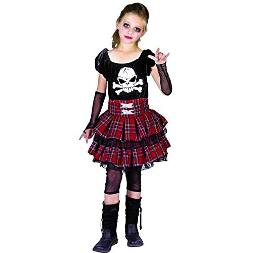 P'TIT CLOWN 88154 Déguisement Enfant Luxe Punk Fille - L - Multicolore