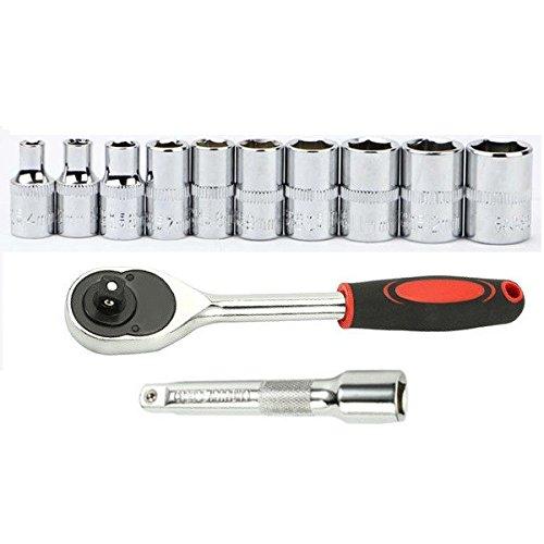 MXBIN 12 Stücke Steckschlüsselsatz Ratschenschlüssel Verlängerungsstange Combo Reparatur Pflegen Werkzeuge Autopflege und Wartung