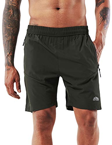 YAWHO Men's Workout Running Shorts Sports Fitness Gym Training Quick Dry Athletic Performance Shorts with Zip Pockets (Green (0366), XL)