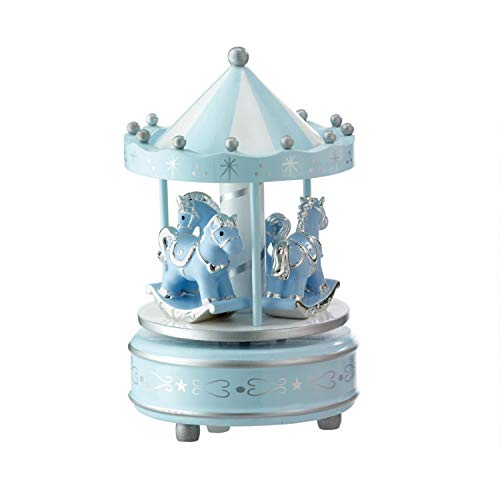 Valenti&Co. - Giostrina e Carillon Musicale con Cavalli da Tavolo per Nascita Bambina con Dettagli in Argento