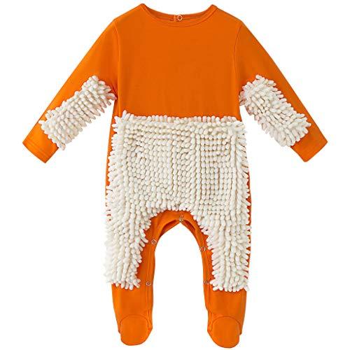 Bebé Fregona Mameluco Atuendo Niñito Gatear Mono Niños Niñas Pisos Limpieza Mop Footie Traje 9-12 Meses