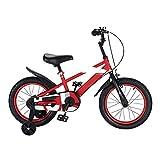 BAOMEI Bicicletas Bicicleta for niños, niños y niñas de 4 a 8 años de Edad, Bicicleta de 16 Pulgadas con Rueda de Asistencia, Rojo