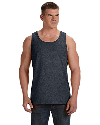 Fruit of the Loom Adult 5 Oz HD Cotton Tank - Black Heather - L - (Style # 39TKR - Original Label)