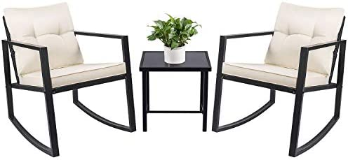 Best Devoko 3 Piece Rocking Bistro Set Wicker Patio Outdoor Furniture Porch Chairs Conversation Sets with