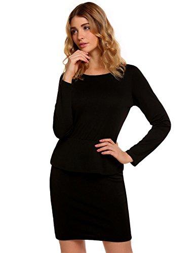 Meaneor Damen kurzes Etuikleid Langarm Schößchen Kleid Elegant Cocktailkleid Abendkleid Strech Business Partykleid