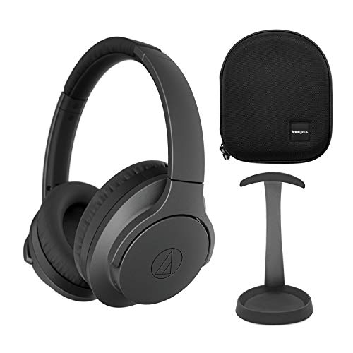 Audio-Technica ATH-ANC700BTBK Wireless Noise-Canceling Headphones (Black) Bundle with Knox Gear Aluminum Stand and Protective Case (3 Items)