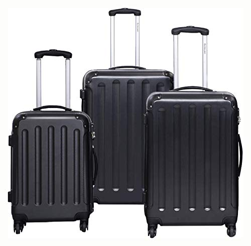 Lowest Price! MD Group Suitcase, GLOBALWAY 3 pcs Luggage Trolley Case Set, Black