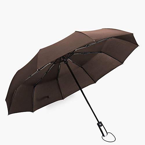 FPXNBONE Hochwertiger Damen Automatik Regenschirm,10-Knochen-Vollautomatik-Taschenschirm, Ultra wasserdichter Regenschirm-Khaki,windsicher Regenschirm sturmfest