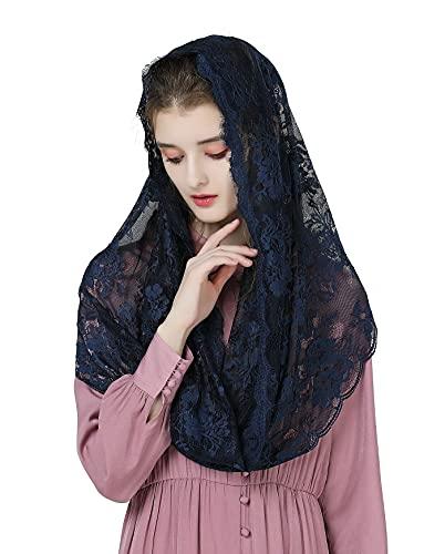 BEAUTELICATE Mantilla de Encaje Velo Mantón Bufanda Encaje con Pestaña para Mujer Catedral Capilla Azul Marino