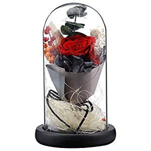 Silk Flower Arrangements VORCOOL Preserved Flower Rose Led Lights in Glass Dome with Wooden Base Rose Lamp DIY Flower Arrangement for Valentines Day Mothers Day Wedding Anniversary Birthday
