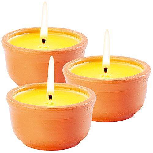 infactory Mückenkerzen: Anti-Mücken-Kerzen in Terrakotta-Schalen, 3er-Pack (Citronella Kerzen)