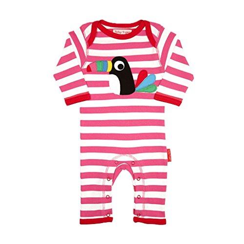 Toby Tiger Toucan Applique Sleepsuit - Combinaison - Bébé fille, Rose (Pink/Green/Blue/Red/Yellow/Black), 6 mois