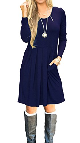 AUSELILY Women's Long Sleeve Pleated Loose Swing Casual Dress with Pockets Knee Length (L, Navy Blue)