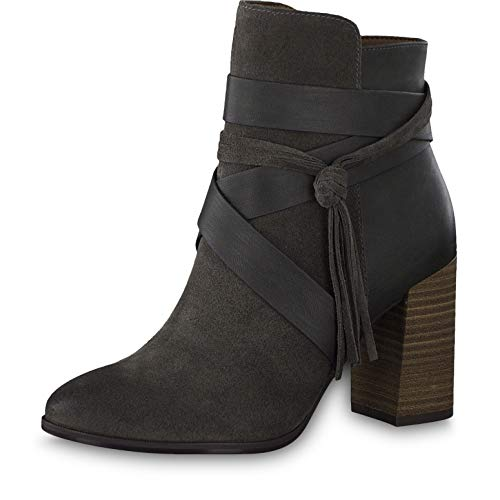 Tamaris Damen Stiefeletten 25365-23, Frauen Stiefelette, Stiefel Boot halbstiefel Damenstiefelette Bootie reißverschluss Lady,Graphite,36 EU / 3.5 UK