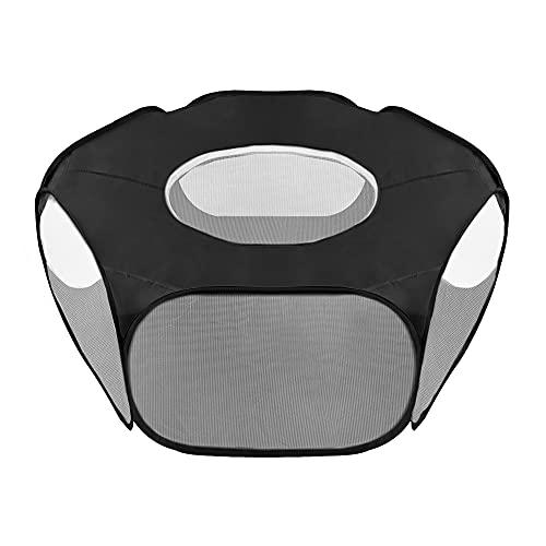 SlowTon Pet Box Tenda per Gabbia per Animali Domestici Piccola, Traspirante e Trasparente Pop Open Recinzione per Esercizi all\'aperto/al Coperto, Recinzione per Cortile Pieghevole all\'aperto (Nero)