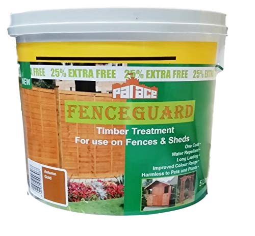 5 Litre Autumn Gold One Coat Fence and Garden Shed Paint Water Repellent Quick Dry Wall Paint - Autumn Gold Colour