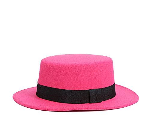 ZUMUii ZUMUii Butterme Weinlese Frauen Damen Herbst Winter Wollfilz Flat Top Hat Kirche Derby bowknot Cap Fedora Hut (Hot Pink)